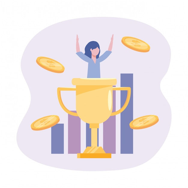 Businesswoman with cup prize and statistics bar with coins Free Vector