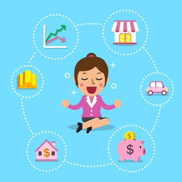 Businesswoman with different investing options Premium Vector