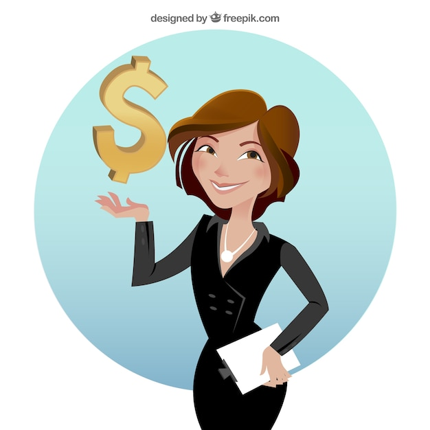 Businesswoman with dollar sign Free Vector