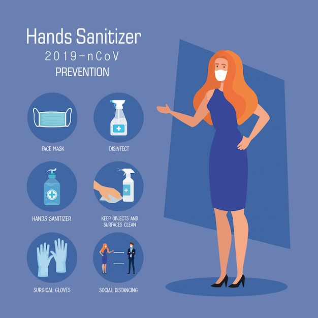 Businesswoman with mask and hands sanitizer prevention tips Premium Vector