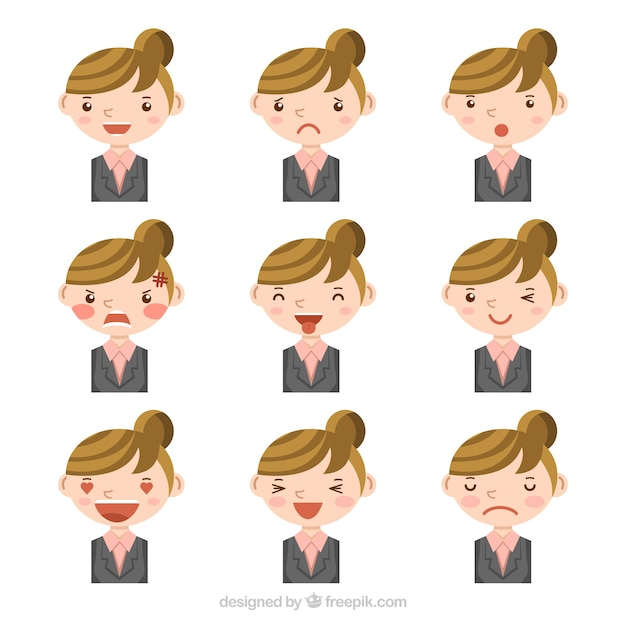 Businesswoman with nine different facial\ gestures