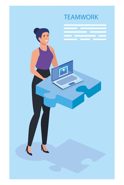 Businesswoman with puzzle piece and laptop Free Vector