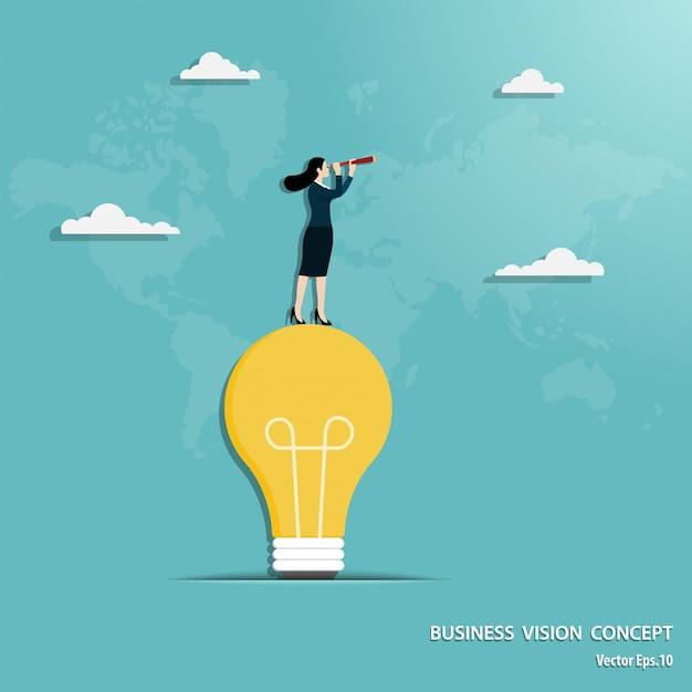 Businesswoman with telescope standing on light bulb Premium Vector