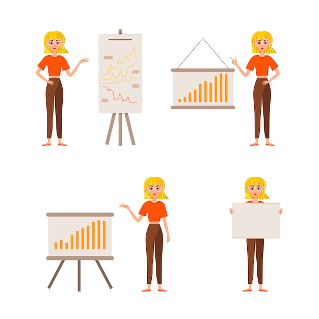 Businesswoman working character design set. the girl shows on the development chart. 12 poses vector illustration. Premium Vector