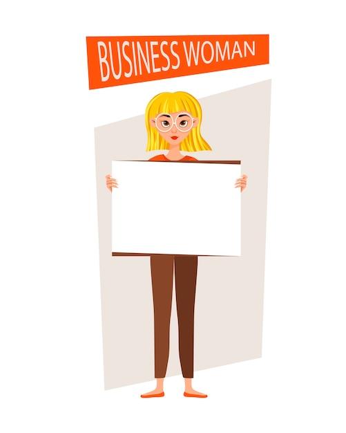 実業家の作業文字セット。女の子は開発チャートに表示されます。 Premiumベクター