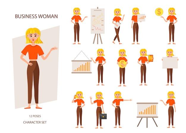 Businesswoman working character set. Premium Vector