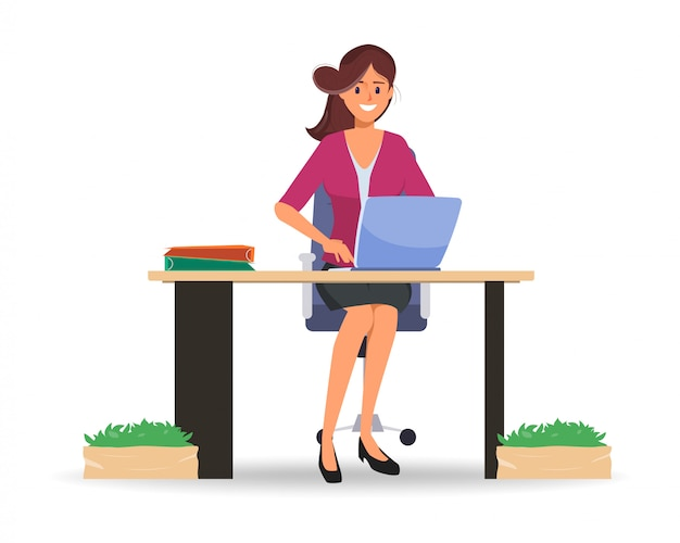 Businesswoman working on laptop computer to communication online. Premium Vector
