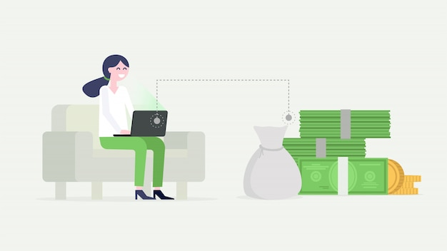 Businesswoman working on laptop, sitting on the couch, earning money. Premium Vector