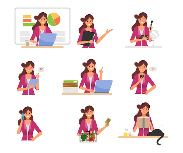 Businesswoman working routine character pose. Premium Vector