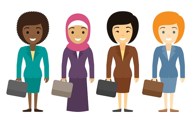 Businesswomen characters of different ethnicity in flat style. international female office staff. Premium Vector