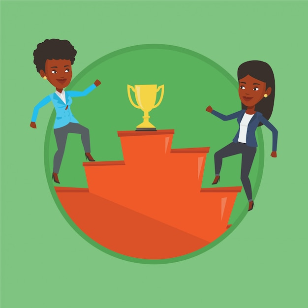 Businesswomen competing for the business award. Premium Vector