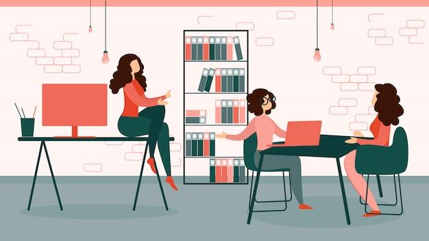 Businesswomen in formal suit work in modern office Premium Vector