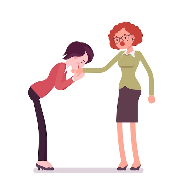 Businesswomen hand kiss gesture Premium Vector