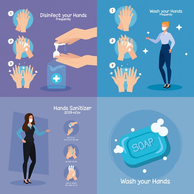 Businesswomen and hands washing steps Premium Vector