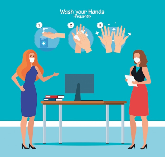 Businesswomen at office and hands washing steps Premium Vector
