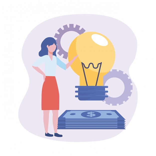 Businesswomen with bulb idea and bills with gears Free Vector