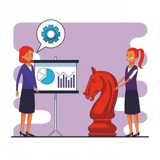 ホワイトボードとチェスのピースベクトルグラフィックのグラフィックデザインで統計を持つbusinesswomens Premiumベクター