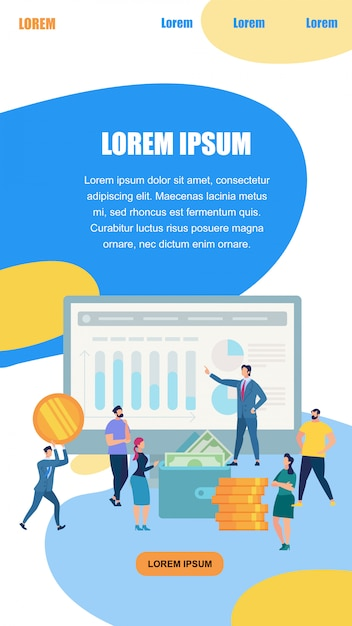 Busniess man in suit presenting graphs and charts Premium Vector