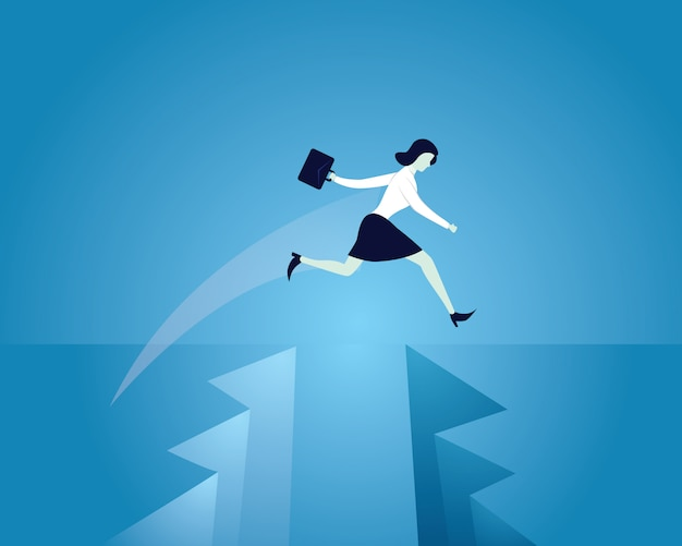 Busnisswoman jump over gap conquering obstacles Premium Vector