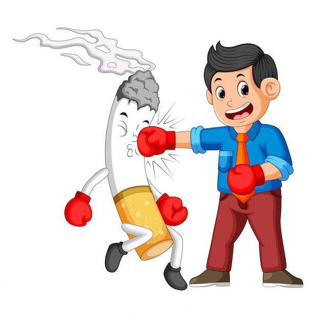 Bussinesman boxing with a cigarette Premium Vector