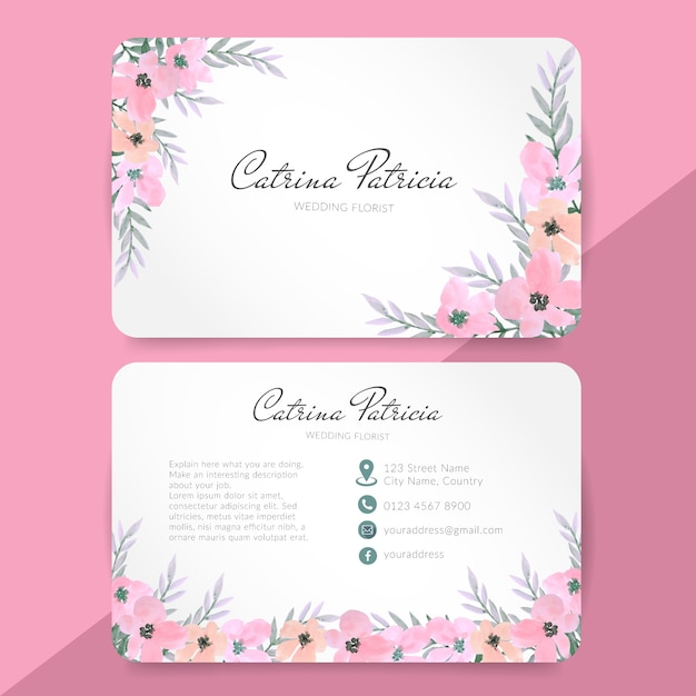 Bussiness card with pink floral watercolor Premium Vector