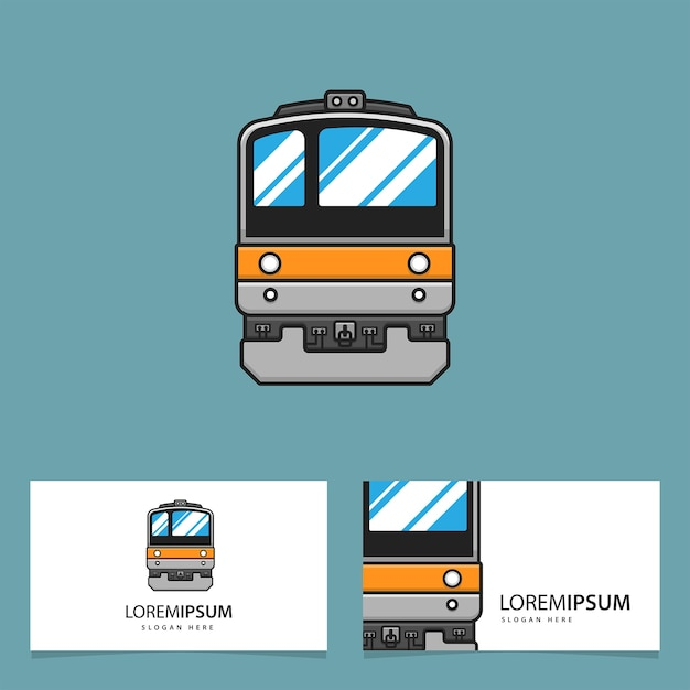 Bussiness card with train logo Premium Vector