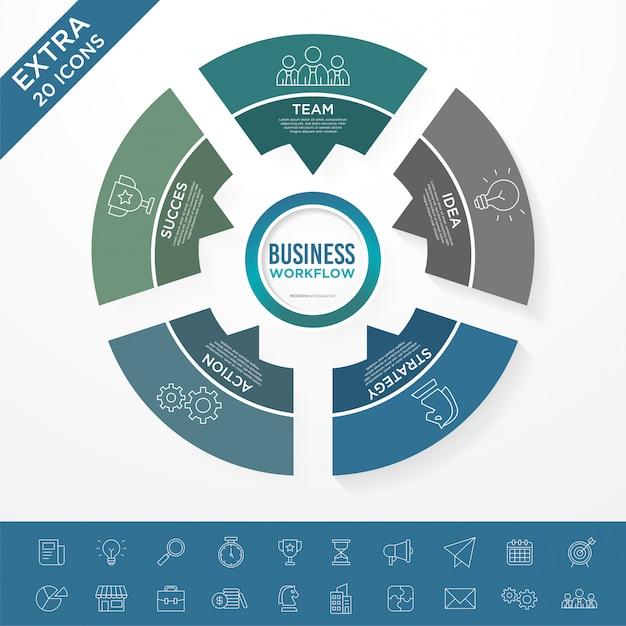 Bussiness infographicテンプレートのセット Premiumベクター