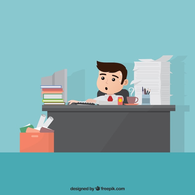 Busy business character Free Vector