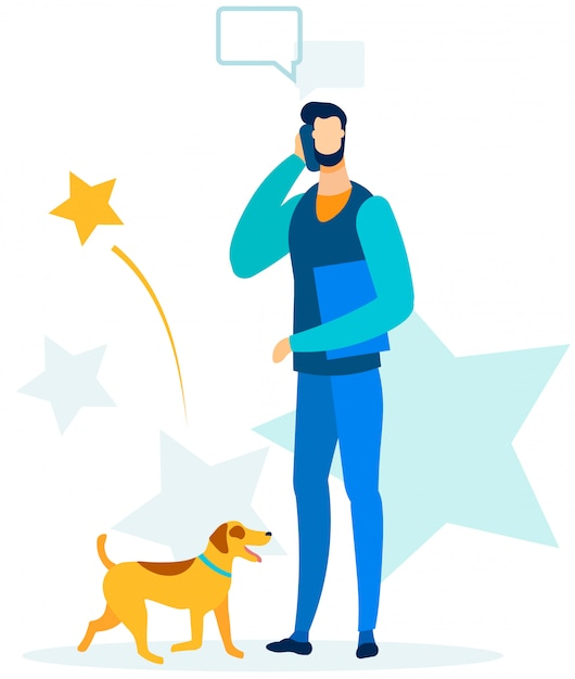 Busy man having business call during walking dog Premium Vector