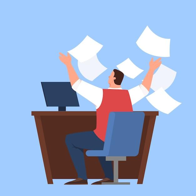 彼の職場で忙しい人は、ストレスと疲れのプロの労働者。ビジネスマンはドキュメントを捨てます。締め切りと働きすぎ、不安と恐れのアイデア。 Premiumベクター