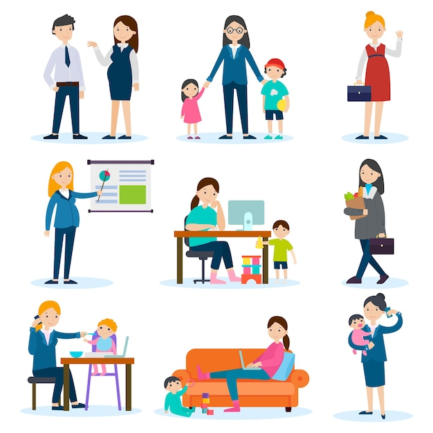 Набор занятых матери и беременной женщины Бесплатные векторы