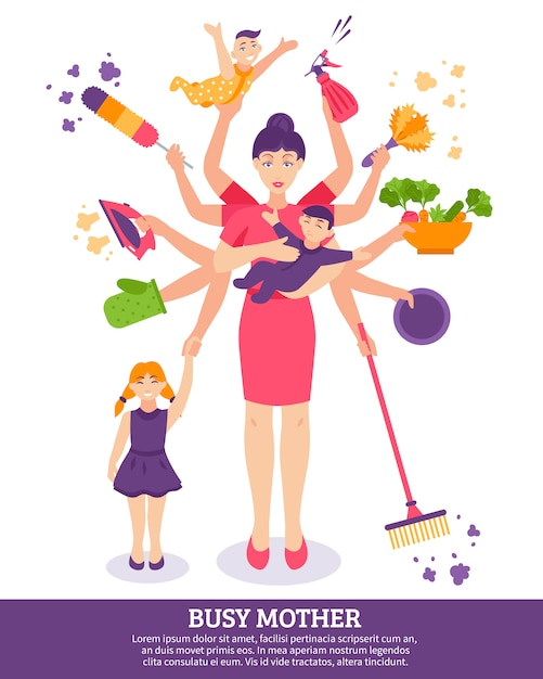 Busy mother concept illustration Free Vector