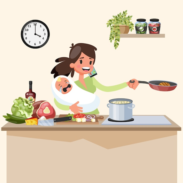 Busy multitasking mother with baby doing many things at once Premium Vector