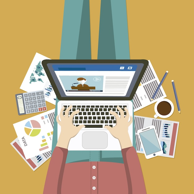 Busy person working on laptop Free Vector