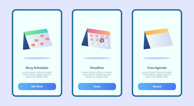 Busy schedule deadline free agenda for mobile apps template banner page ui Premium Vector