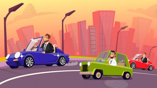 Оживленное движение на городской дороге и счастливые автовладельцы Premium векторы