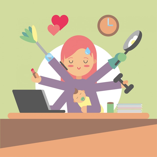 Busy woman doing a lot of things Free Vector