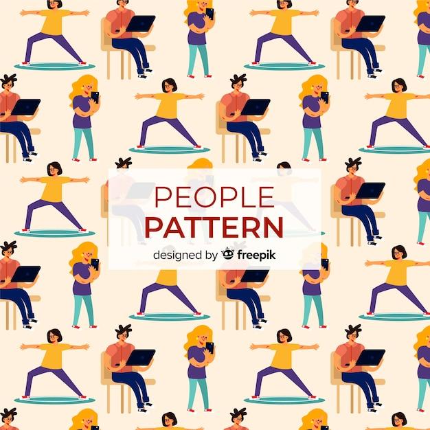Busy women pattern Free Vector