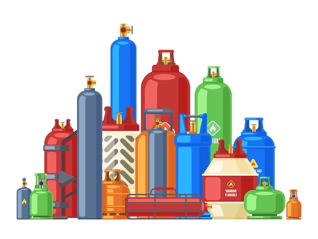 Butane or helium metal flammable gas container Premium Vector