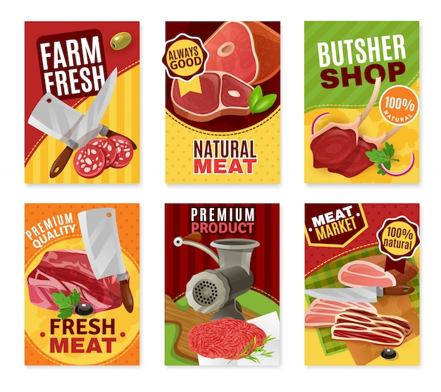 Butcher banners set Free Vector