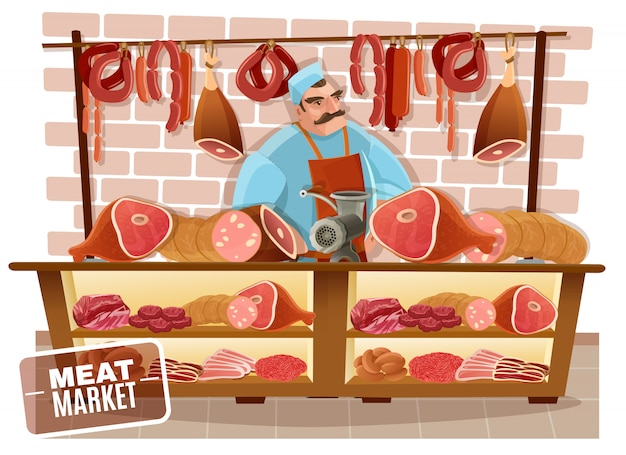 Butcher cartoon illustration Free Vector