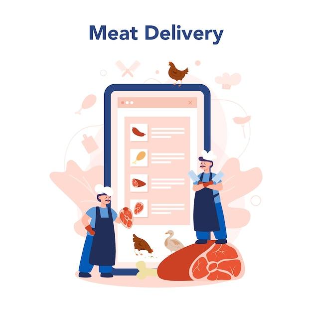 Онлайн-сервис или платформа мясника или мясника Premium векторы