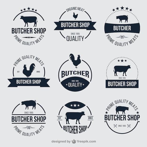 Butcher shop badges Free Vector