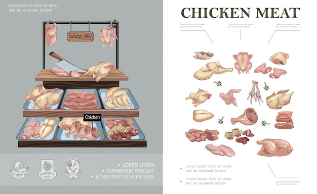 Butcher shop colorful composition with chicken legs wings thigh feet breast neck fillet ham liver heart on counter Free Vector