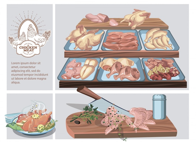 Composizione di macelleria con diverse parti di carne di pollo sul bancone e pollo arrosto sul piatto Vettore gratuito