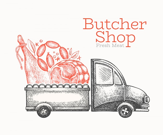 Butcher shop delivery logo template. Premium Vector