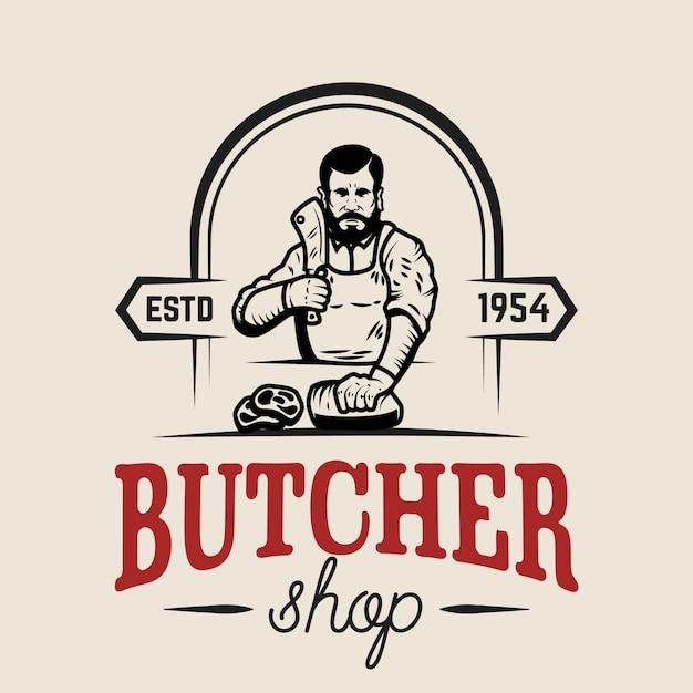Butcher shop.  element for logo, label, emblem, sign, poster.  illustration Premium Vector