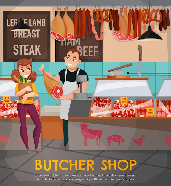 Butcher shop illustration Free Vector