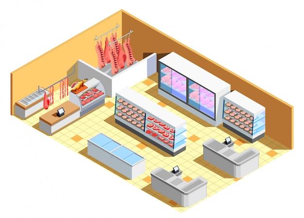 Мясной магазин интерьер изометрические сцены Бесплатные векторы