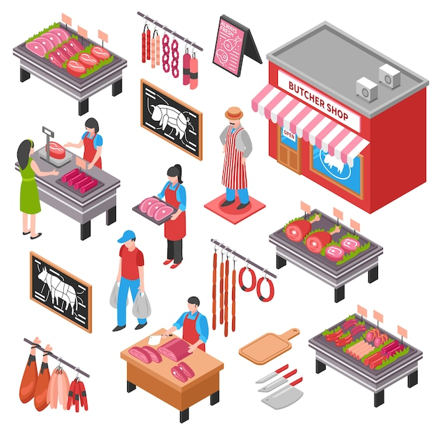 Butcher shop isometric set Free Vector